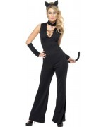 Déguisement chat noir femme, combinaison noire avec queue et oreilles de chat
