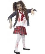 Déguisement zombie fille écolière halloween, costume pour enfant de 7 à 15 ans