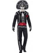 Déguisement de squelette mexicain pour homme, costume noir et blanc avec sombrero
