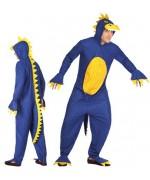 Déguisement de dinosaure bleu pour adulte, combinaison à capuche - déguisements animaux préhistoriques