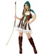 déguisement femme robin des bois, avec robe, boléro et cape à capuche