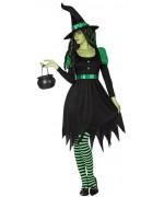 Déguisement sorcière de l'ouest femme, robe noire et vers - costume sorcière de contes