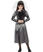 Déguisement de mariée zombie pour fille (3 à 12 ans) - costume de squelette et zombie pour halloween