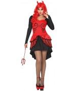 Déguisement femme diablesse avec robe et cornes, disponible en taille S, M/L et XL