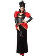 Déguisement de vampire pour femme, longue robe noire et rouge et chapeau - costume de comtesse des vampires