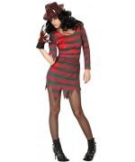 Déguisement de Freddy pour femme, robe à rayures rouges et vertes - Halloween et film d'horreur