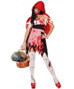 Déguisement halloween petit chaperon rouge ensanglanté avec robe, tablier et cape à capuche