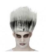 Perruque de zombie noire et grise pour adulte