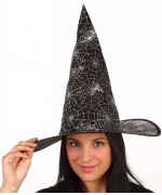 Chapeau de sorcière pour adultes et enfants avec toiles d'araignées argentées - chapeaux halloween