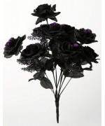 Bouquet de roses noires à paillettes violettes - accessoires et décoration halloween