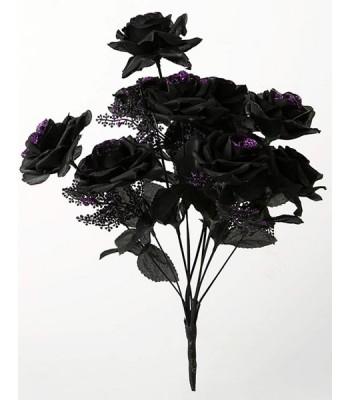 Bouquet de roses noires à paillettes violettes