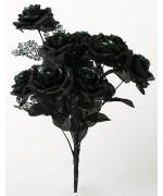 Bouquet de roses noires décoré de paillettes vertes - article de décoration pour halloween
