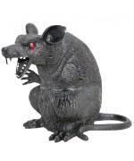 Rat noir en plastique d'environ 22 cm, idéal pour compléter votre décoration pour halloween