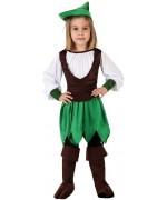 Déguisement fille des bois, robin des bois dans sa version féminine avec chapeau et surbottes
