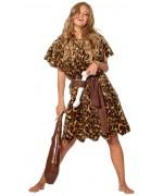 Déguisement femme de cro magnon luxe avec robe, ceinture et os - costume préhistoire femme