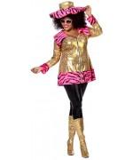 Déguisement bling bling grande taille pour femme, robe flashy et bling bling de star américaine