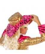 Chapeau pimp avec fourrure rose et noire pour femme - accessoire bling bling et années 70pour