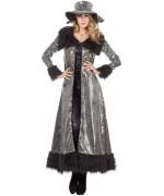 Déguisement pimp femme années 70, long manteau à fourrure noire et argent
