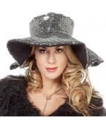 Chapeau noir et argent à paillettes pour femme - chapeaux disco bling bling
