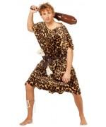 Déguisement homme des cavernes luxe pour adulte avec tunique imitation peau de bete, ceinture et os - costume cromagnon