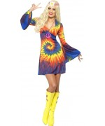Déguisement hippie pour femme, robe multicolore années 60