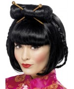 Perruque chinoise pour femme avec chignon et baguettes
