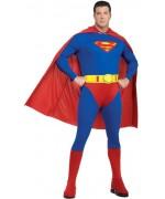 Déguisement Superman XXL pour homme avec combinaison imprimée, couvre-bottes et cape