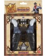 Le kit du cowboy avec double holster, pistolets, balles et insigne