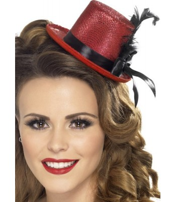 Mini chapeau rouge avec plume et ruban