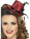 Mini chapeau rouge pour femme avec plume et ruban, idéal pour vos déguisements burlesques