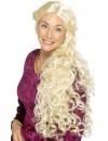 Longue perruque blonde cheveux ondulés, déguisement femme de la renaissance