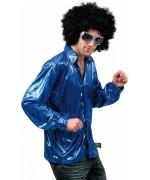 Chemise disco bleu night fever - déguisement disco homme