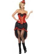 Déguisement de danseuse burlesque rouge et noir BZ233S