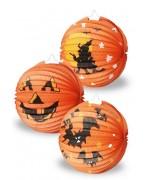 Lanterne halloween orange 3 modèles assortis (citrouille, sorcière ou chauve-souris)