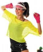 T-shirt jaune fluo pour femme déguisement fluo, années 80 et 90