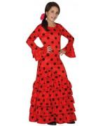 Déguisement espagnol pour filles de 3 à 12 ans, longue robe espagnole rouge et noir