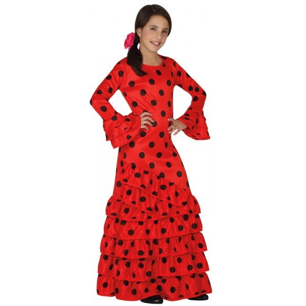 Déguisement espagnol pour filles de 3 à 12 ans, longue robe espagnole rouge  et noir 583b9792a770