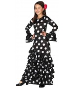 déguisement de danseuse flamenco noire pour filles de 3 à 12 ans, longue robe espagnole noire à pois blancs