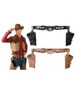 Déguisement cowboy, ceinture double double holster pour pistolets