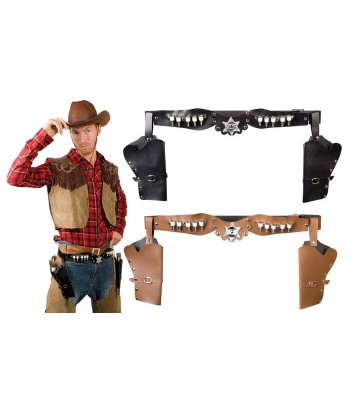 Ceinture cowboy double holster adulte