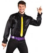 Chemise disco noire pour homme, chemise années 70 également disponible en grande taille
