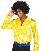 Chemise disco homme jaune années 70 disponible en tailles M, XL et XXL
