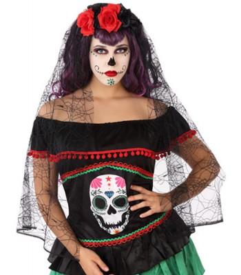 Diadème mexicain halloween avec roses et voile