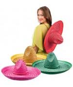 Chapeaux mexicains 50 cm, sombrero mexicain pour adulte disponible en rouge, vert, jaune et rose