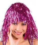 Perruque disco rose métallique femme