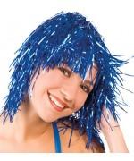 Perruque disco bleu effet métalique