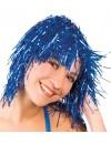 Perruque disco métalique bleu