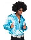 Chemise disco bleu homme pour vos soirées déguisées années 70, tailles XL et XXL disponibles