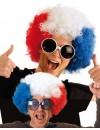 Perruque France big afro bleu blanc rouge
