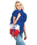 Boa France en plumes 180 cm, tricolore bleu blanc rouge 50 gr